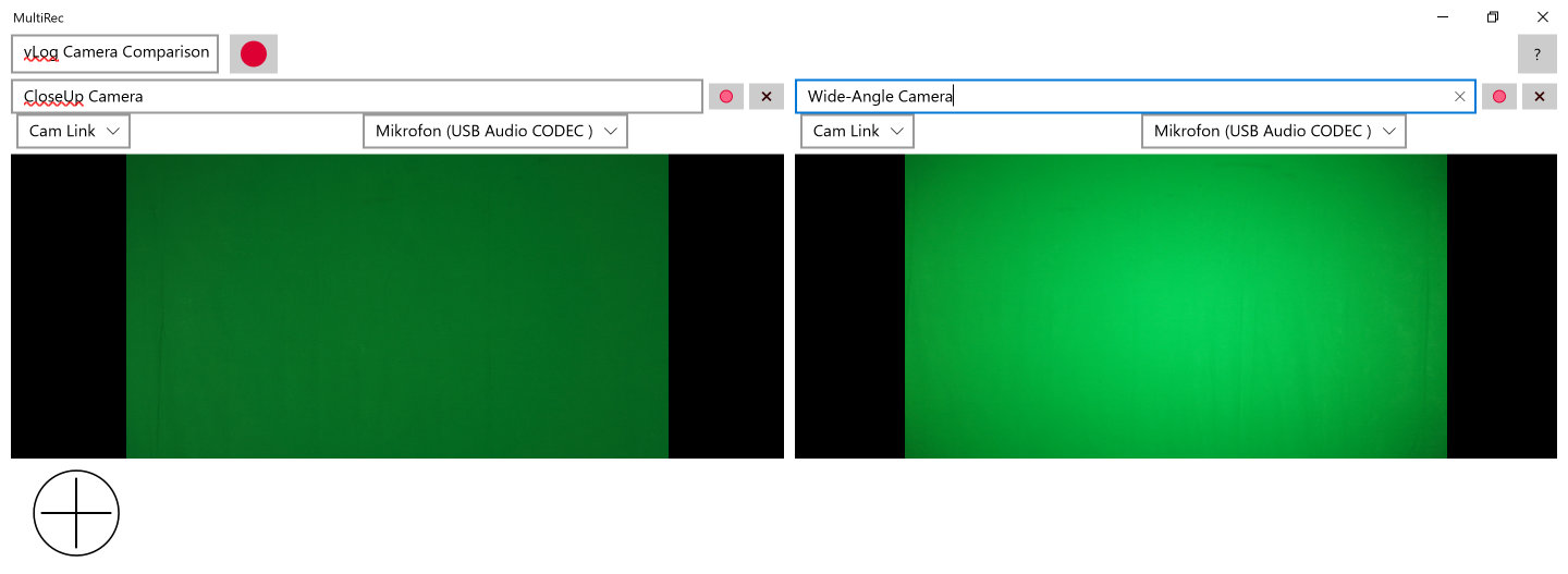 Screen shot showing two cameras that both record green screens